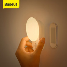 Baseus LED Night Lights Magnetic Motion Sensor Light Indoor USB Rechargeable Wall Lamps Decor Moon Lamp for Bedroom & Depot
