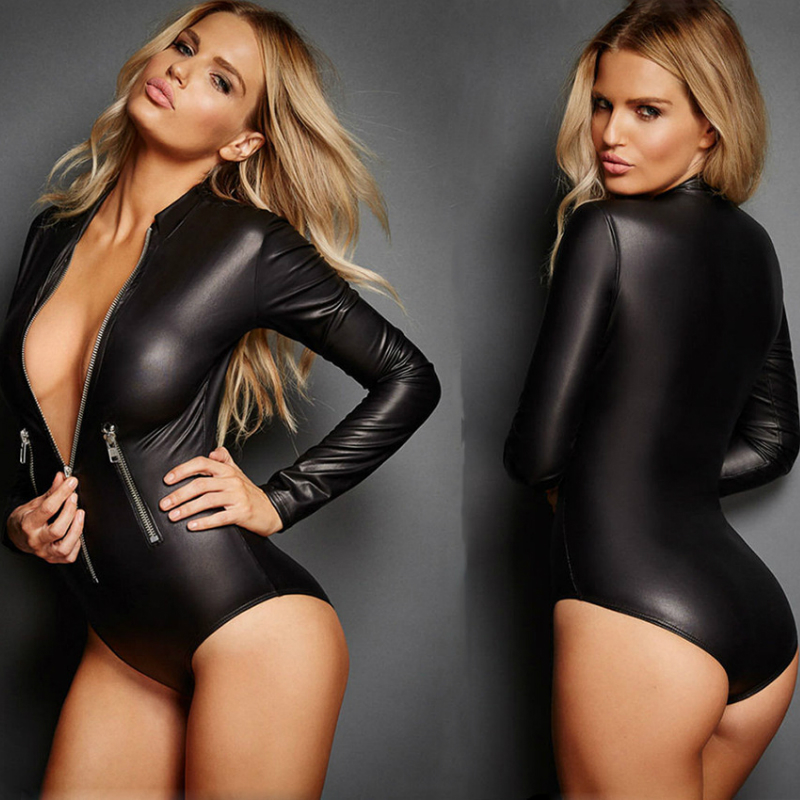 Sexy Leather Lingerie Dress Latex Bodysuit Motocross Clothing Jacket with Zipper Erotic Faux Leather Catsuit Body Suits Sexi