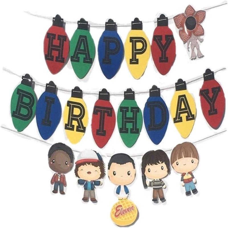 1 Набор из сериала очень странные баннеры ТВ очень странные дела тематическая вечеринка на день рождения Decrations детские игрушки подарок флаг игра письмо цветы овсянка