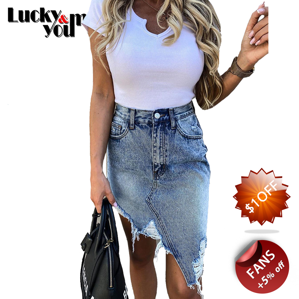 New Arrive 2020 Womens Summer Casual Irregular Denim Skirt Female Asymmetrical Hole Tassel Jeans Skirt Girls Street Wear Skirts