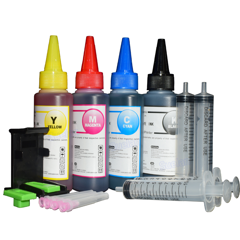Untuk HP301 XL Tinta Printer untuk HP302 Hp304 XL Ink Cartridge Tinta Isi Ulang Kit ForHP650 HP652 HP651 XL 4x100ml