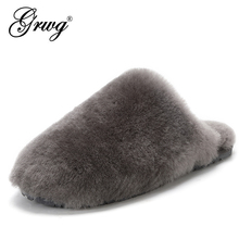 House Shoes Wool-Slippers Sheep Natural Winter Women Casual Warm Fashion Lady Fur New