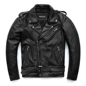 Image 3 - MAPLESTEED Classical Motorcycle Jackets Men Leather Jacket 100% Natural Calf Skin Thick Moto Jacket Winter Sleeve 61 67cm M192