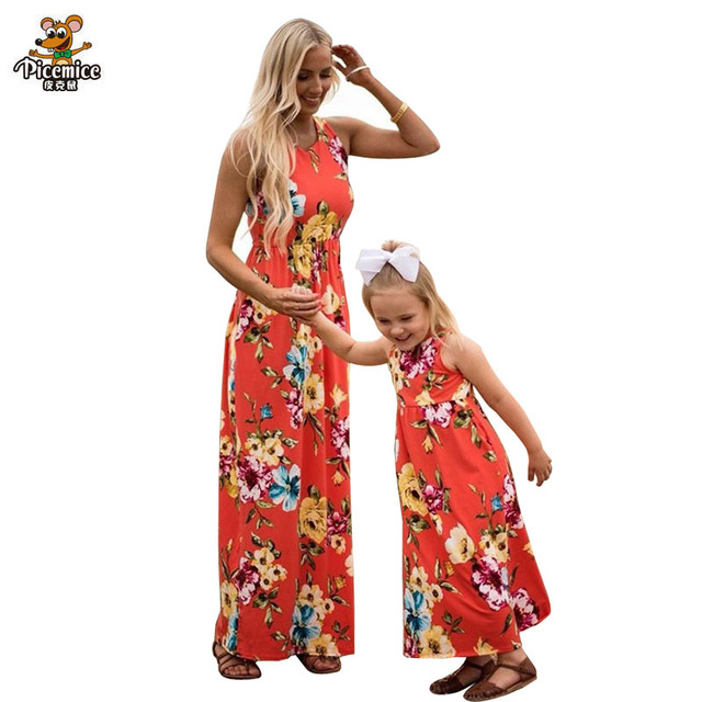 Summer Mommy and Me Floral Dresses Family Matching Outfits Fashion Cartoon Animals Print Short Sleeve Long Big Skirt