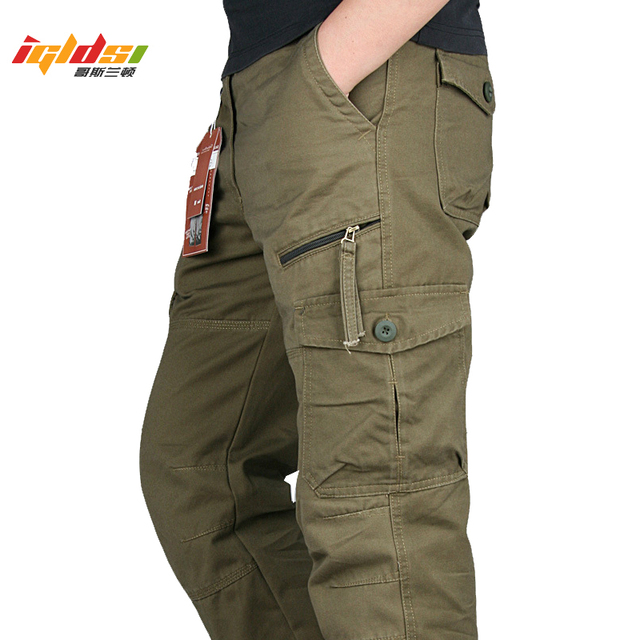 New 2019 Men Cargo Pants Multi Pockets Military Tactical Pants Men Outwear Streetwear Army Straight Slacks Casual Long Trousers 1