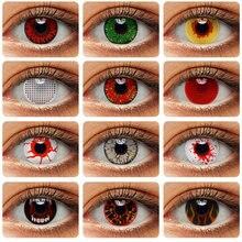 Lentilles de Contact colorées pour Cosplay, 2 pièces/paire, maquillage, pupilles, Cosplay, Anime, fantôme, Zombie