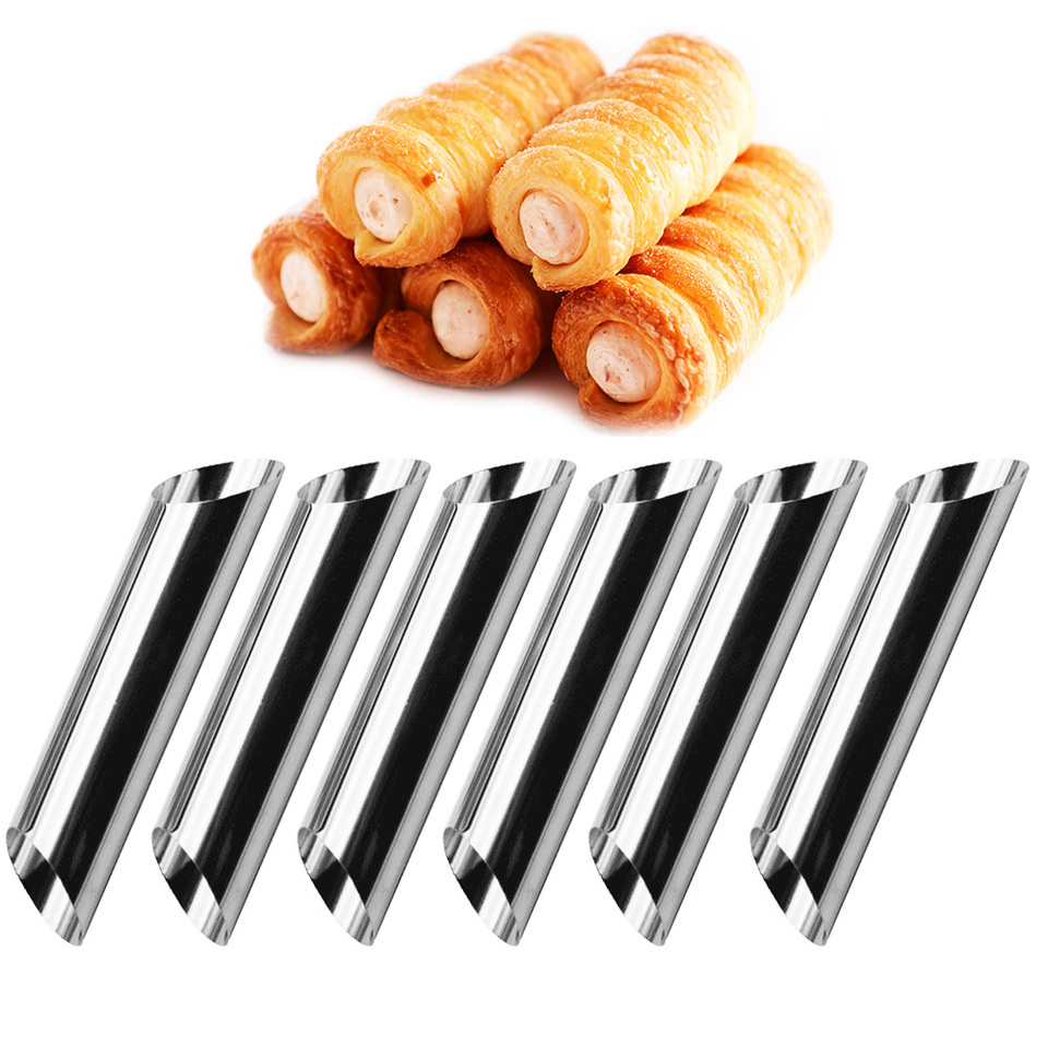 12x Stainless Steel Cannoli Form Cream Tubes Shell Horn Mould Baking Mold Tools