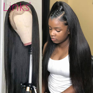 Links Wig Straight Human-Hair Lace-Frontal Glueless Natural-Color Cheap Brazilian Black-Women