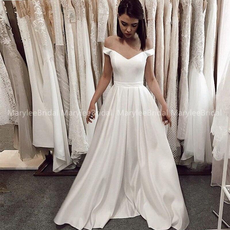 Vintage A-line White Satin Wedding Dress For Women 2020 Cheap Off Shoulder Floor Length Bridal Dresses Formal Vestido De Noiva