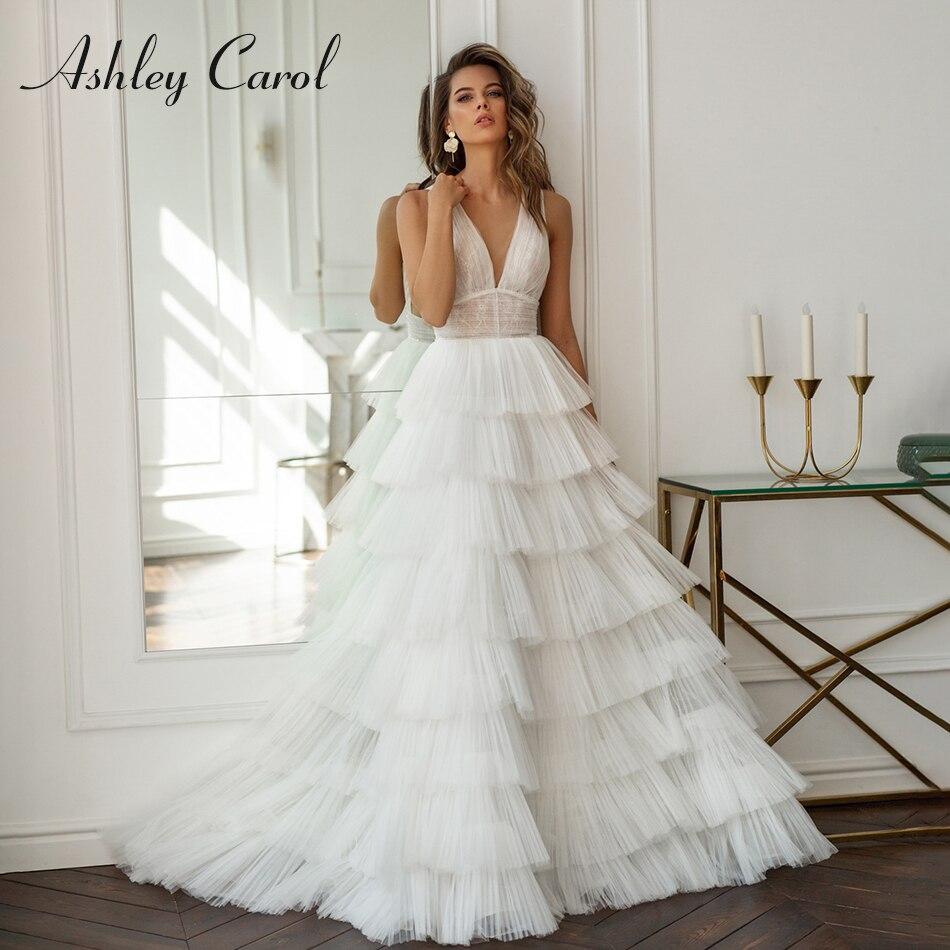 Ashley Carol Ruffles A-Line Wedding Dresses 2020 Vestido De Noiva Sexy V-neck Sleeveless Lace Bride Backless Beach Bridal Gowns