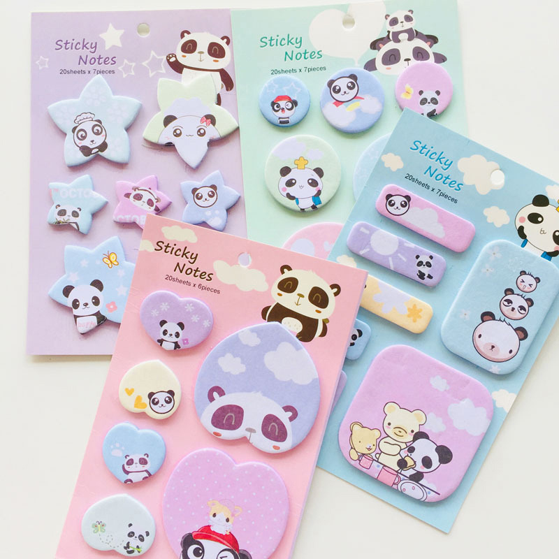 120 Sheets Cute Panda Sticky Notes Kawaii Cartoon Memo Pad Lovely Plan Message Sticker For Scrapbooking School Label Stationery