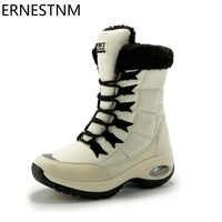 ERNESTNM qualité imperméable à l'eau hiver femmes bottes garder au chaud mi-mollet bottes de neige dames à lacets bottes confortables Chaussures Femme