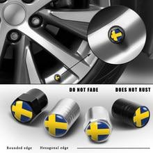 4Pcs Auto Rad Reifen Ventil Stem Cap Air Ventil Staub Abdeckung Schweden Abzeichen Für Volvo V40 V50 V60 V70 s40 S60 S70 S80 S90 XC60 XC70