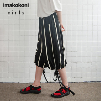 цена на imakokoni black striped casual pants original design loose sports cropped wide leg pants female summer 182341