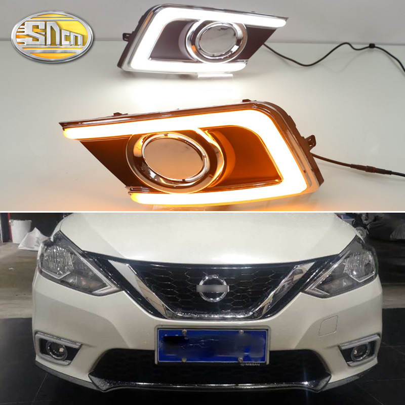 2pcs For Nissan Navara Sentra 2016 2017 Sylphy DRL Daytime Running Lights Daylight Fog Light Cover With Turn Yellow Signal