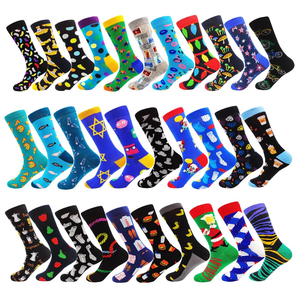 Fashion Hip Hop Colorful Novelty Cotton Mens And Women Socks Cartoon Hamburger Mushroom Cookie Kawaii Happy Funny Dress Socks