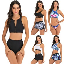 Swimsuit Tankini-Set Beach-Wear Two-Piece Plus-Size Women Girl Sport Mayo Shorts Maios