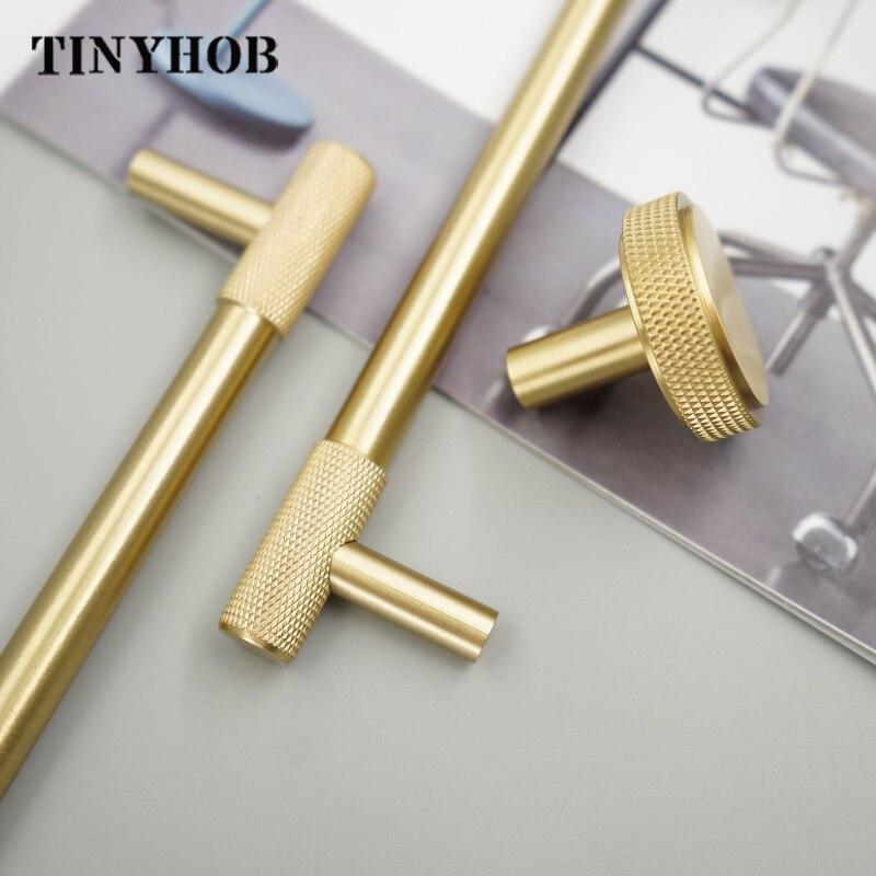 Satin Brass Diamond Knurled/Textured Cabinet Knob Kitchen Cupboard Door Pulls Furniture Handle T bar Cabinet Hardware Cabinet Pulls     - title=