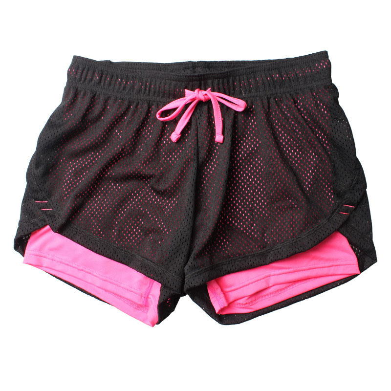 2019 New Women Cotton Shorts Mesh  Double Layer Fitness Shorts Cool Clothing Lace-up Yoga Shorts