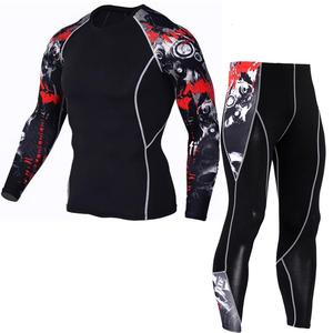 Image 4 - tactical mma rash guard long sleeves Mens fitness compression clothing tracksuit Men T shirt leggings Jogging suit Sport suit