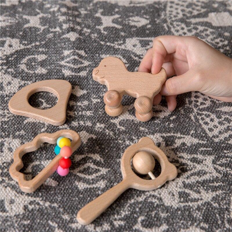 4pcs/Set Wooden Car Shape For Babies Wood Teether Kids Brain Game Toys Handmade Crafts Gift Beech Wood Child Blocks 2020 New Hot