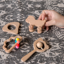 4pcs/Set Wooden Car Shape For Babies Wood Teether Kids Brain Game Toys Handmade Crafts Gift Beech Wood Child Blocks 2020 New Hot
