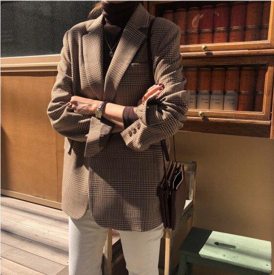 Vintage Lattice Suit Jacket High Quality Korean Slim Jacket Leisure Single Breated Coat Streetwear
