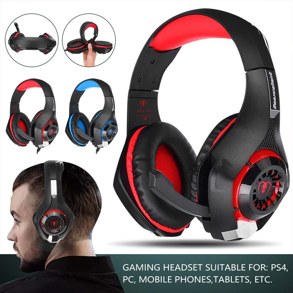 Gaming Headset GM-1 3.5mm Ajustable Gaming Headphone Earphone Headphone Headset with Microphone LED Light For PS4 Phone PC
