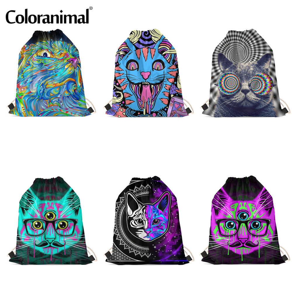 Coloranimal Cool Trippy Cats Prints Drawstrings Bag Trendy Women Children Boys Girl Shoulder Backpack Ladies Soft Storage Bags