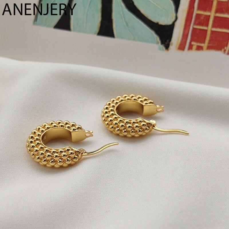 ANENJERY 925 Sterling Silber Metall Hoop Ohrringe für Frauen Französisch Geometrische Schmuck Party Zubehör Geschenk S-E1382