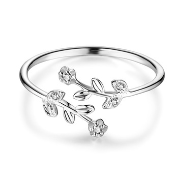 Fancy Leaf Branch Diamond 18K Genuine Real True Solid Gold Rings Bands for Women Girl Elegant Upscale Office Jewelry Gift Party 2
