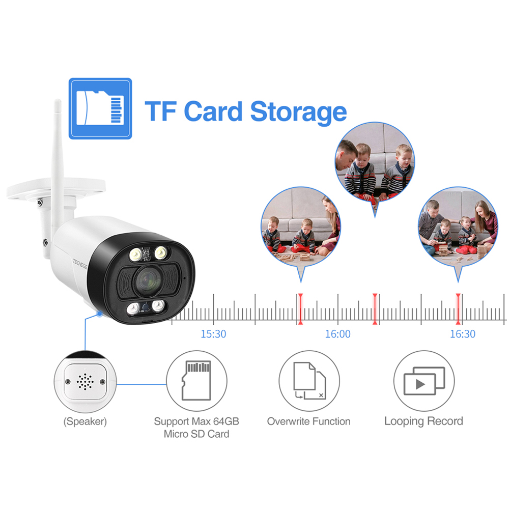 Techege AI Smart 5MP Wireless IP camera Outdoor Onvif Security Camera Color Night Vision Human Detection Two Way Audio TF Card