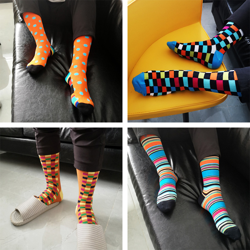 2019 New Arrived Men Socks Funny British Style Casual Animals&Stripes Happy Socks Cotton Long Chaussettes Homme Fantaisie