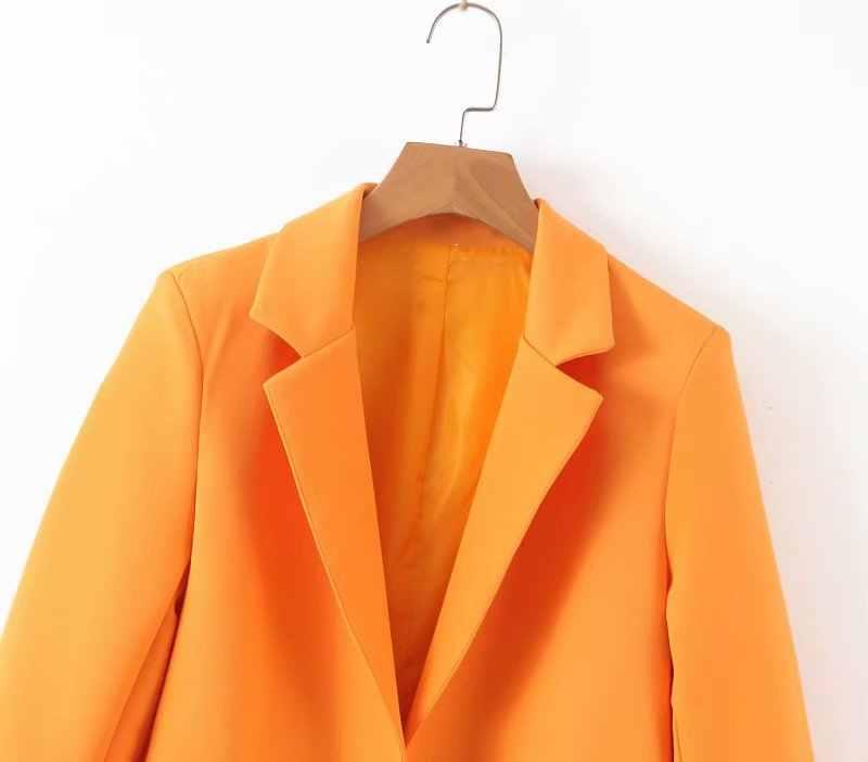 女性 orange ブレザーポケットノッチ襟オープンステッチ 3 分袖コート女性の事務服トップス