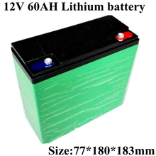 Large Capacity 12v 60ah Lithium Ion Battery Pack Rechargeable for 12v 300w Motor Solar Street Lighting Electric Vehicle+charger