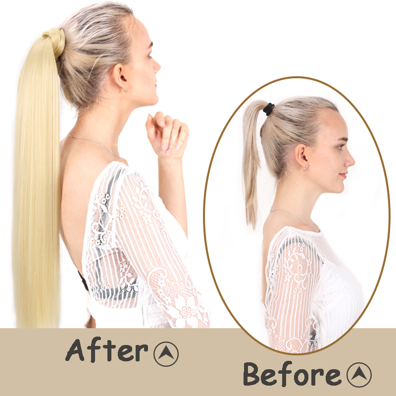 Ponytail Hairpiece False-Hair Clip-In Straight Women AOSI with for 24-