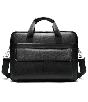 Men Briefcases Lawyer  Leather Handbag Vintage Laptop Briefcase Male Computer Shoulder Bags Casual Men's Bag Documents in black