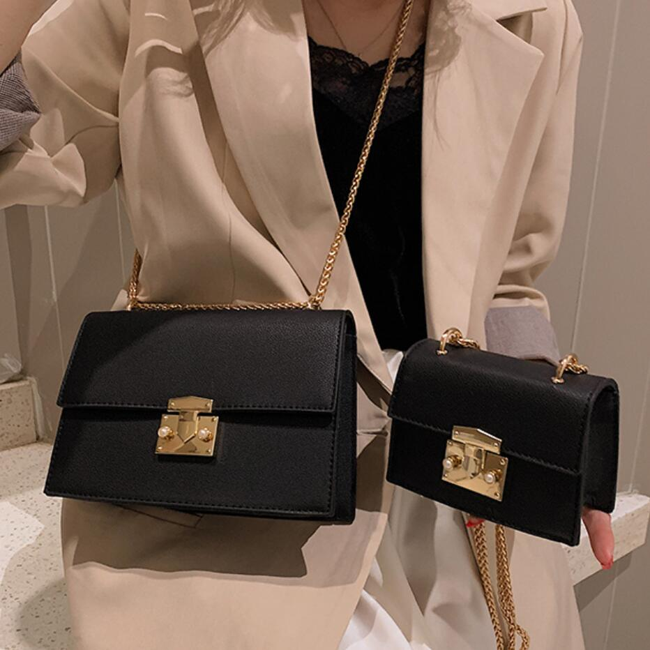 Elegant Female Square Crossbody Bag 2020 Fashion New Quality Leather Women's Designer Handbag Lock Chain Shoulder Messenger Bag