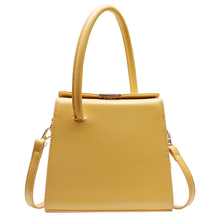 Simple Female Shoulder Bag PU Leather Fashion Woman Work Commuter Youth Lady High Quality Small Square Texture Yellow