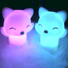 Lovely Foxes Shape LED Night Light Lamp 7 Changing Colors Energy Saving Decorations _WK