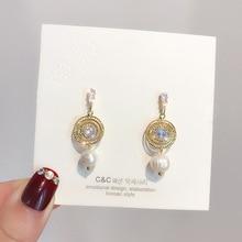 long tassel pearl simple trendy crystal  drop earrings korean fashion vintage women indian jewelry