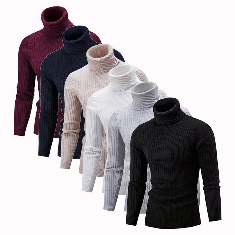 2019 High Quality Warm Turtleneck Sweater Men Solid Knitted Mens Sweaters Casual Slim Pullover Male Double Collar Tops