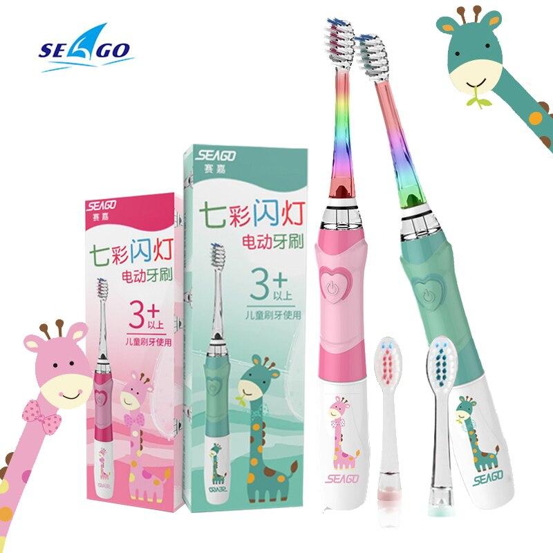 Seago escova de dentes elétrica para crianças colorido led lanterna 16000 cursos frequência dupont cerdas 2 cabeças tempo vibração sonora