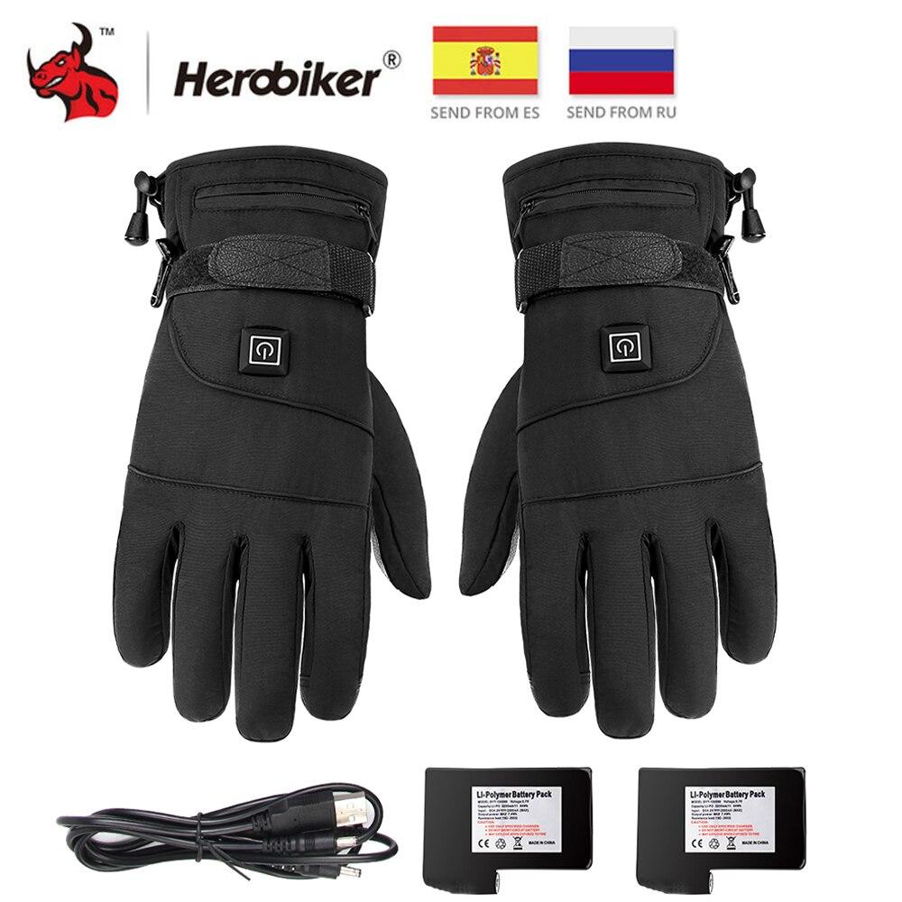 HEROBIKER Heated Guantes Winter Motorcycle Gloves Moto Heating USB Hand Waterproof Warmer Electric Thermal Heated Gloves