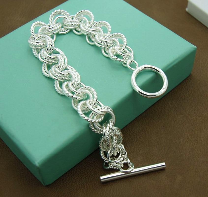 Men's & Women's 925 Sterling Silver Bracelet Fashion Silver Charm Bracelet Jewelry Gift
