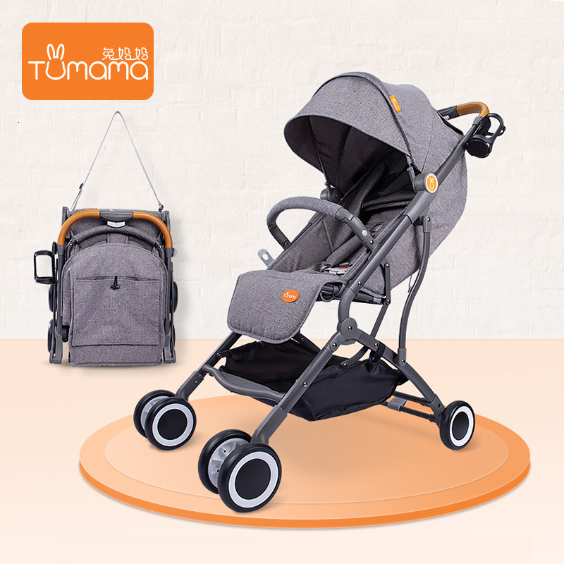Tumama Kids Stroller Fold Vehicle Baby Folding Children Cart Trolley Light Four-wheel Shock Absorber Easy Carrier Mini Cart