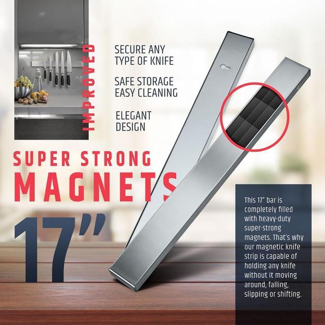 LMETJMA Professional Magnetic Knife Strip Stainless Steel Magnetic Knife Holder Rack Kitchen Knife Bar 30 40 50 cm KC0314 2