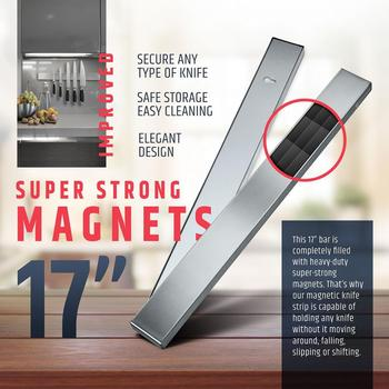 LMETJMA Professional Magnetic Knife Strip Stainless Steel Magnetic Knife Holder Rack Kitchen Knife Bar 30 40 50 cm KC0314