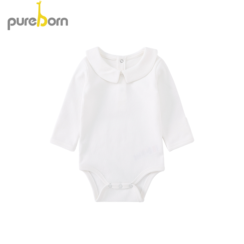 Image 1 - Pureborn Newborn Baby Bodysuit Peter Pan Collar Long Sleeve Jumpsuit Boys Girls Infant Outfits Solid Cotton Bapstim CostumeBodysuits   -