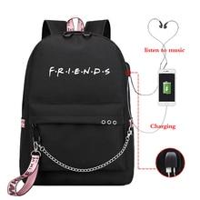 New USB Charging Laptop Backpack Bag Women for Teenage Students Girls School Backpacks Friend Printing Female Travel Bagpack Bag